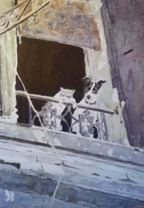 Dog and Cat in Paris. Watercolour. - Jan David Lindgren