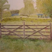 Gate to open landscape - Watercolour by Jan David Lindgren
