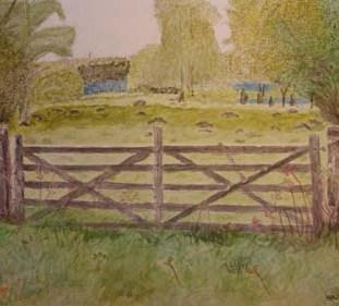 Gate to open landscape - Watercolour by Jan David Lindgren
