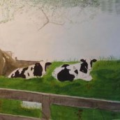 Resting Calves - Watercolour by Jan David Lindgren