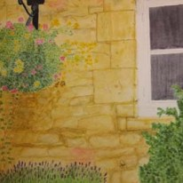 Honey coloured wall - Moreton-in-Marsh, Cotswolds. Watercolour. by Jan David Lindgren
