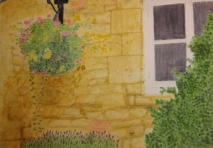 Honey coloured wall. Moreton-in-Marsh, Cotswolds
