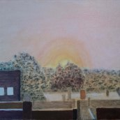 Sunrise in autumn fog - oil on linen by JDL
