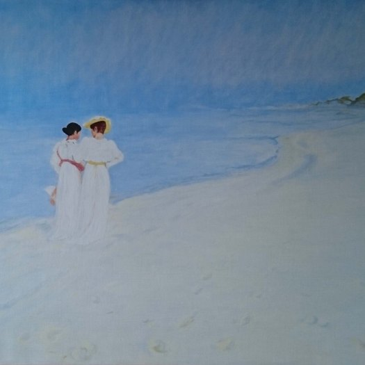 Study of P.S. Kröyer. Oil on linen 100 x 70 cm painted by Jan David Lindgren. The original painting 'Summer evening on Skagen's Southern Beach with Anna Ancher and Marie Kröyer walking together' is owned by Skagens Museum