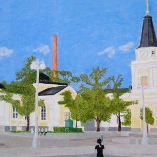 Church and Chimney - oil on linen by JDL