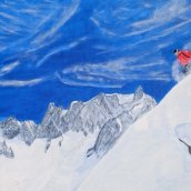 The Alpine Skier - oil on linen by JDL