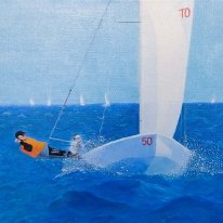 Sails on the sea - Oil on linen by Jan David Lindgren