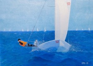 Sails on the sea. Oil on linen by Jan David Lindgren 2015