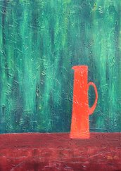 Vase - Texture and oil on linen by JDL