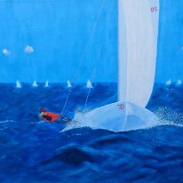 Sailing Race. Oil on prime linen by Jan David Lindgren