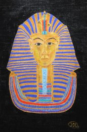 Golden Mask. Acrylic on papyrus by Jan David Lindgren