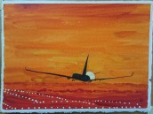 Landing in sunset. Watercolour by Jan David Lindgren