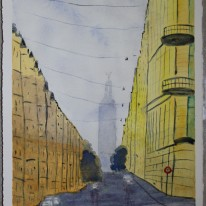 Street in Stockholm. Watercolour by Jan D Lindgren