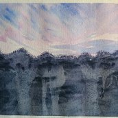 Sunrise in Täby. Watercolour