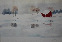 Winter landscape. Watercolour