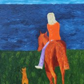 Horse riding along with an Irish Terrier. Oilpainting by Jan David Lindgren