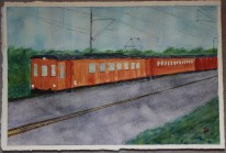 Roslag railway. Watercolour by Jan David Lindgren