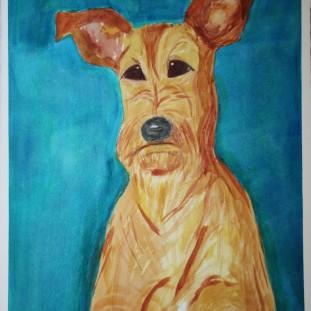 Irish Terrier. Watercolour by Jan David Lindgren