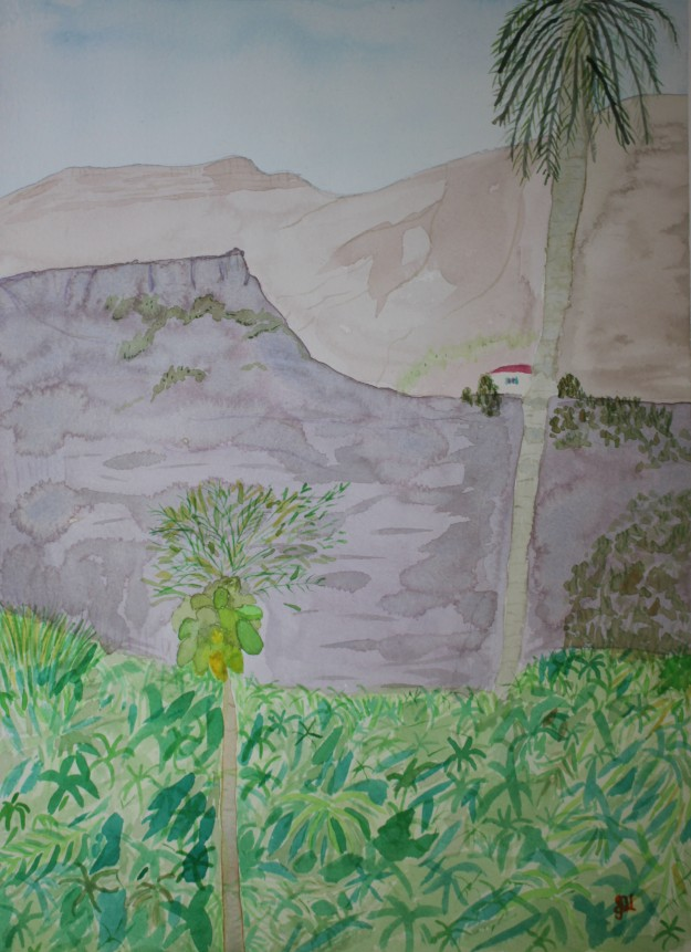 Las Burrilas. Watercolour by Jan David Lindgren