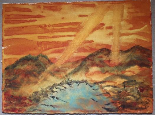 Lake in the mountains. Watercolour by Jan David Lindgren