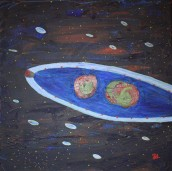 Space fruit. Acrylic painting by Jan David Lindgren