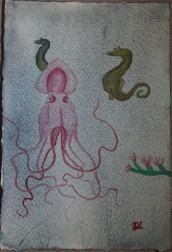 Octopus III. Watercolour by Jan David Lindgren
