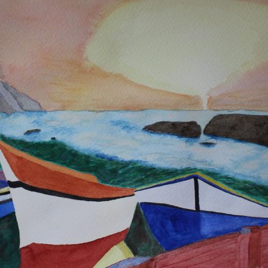 At the beach. Watercolour by Jan David Lindgren