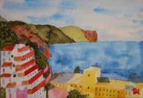 View from Calle Bajamar 8. Watercolour by Jan David Lindgren