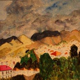 Mountains in Nerja. Watercolour by Jan David Lindgren