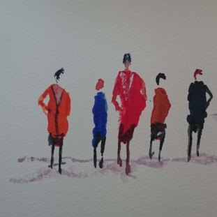 Figures without details. Watercolour by Jan David Lindgren