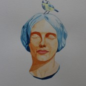 Woman with bird. Watercolour by Jan David Lindgren
