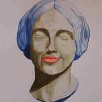 Jeune Femme - vert. Watercolour by Jan David Lindgren