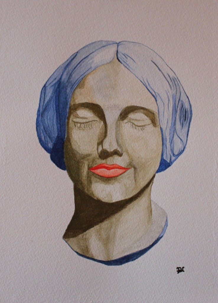 Jeune Femme - vert. Watercolour by Jan David Lindgren