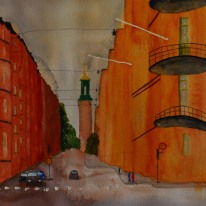 Street view. Watercolour by Jan David Lindgren